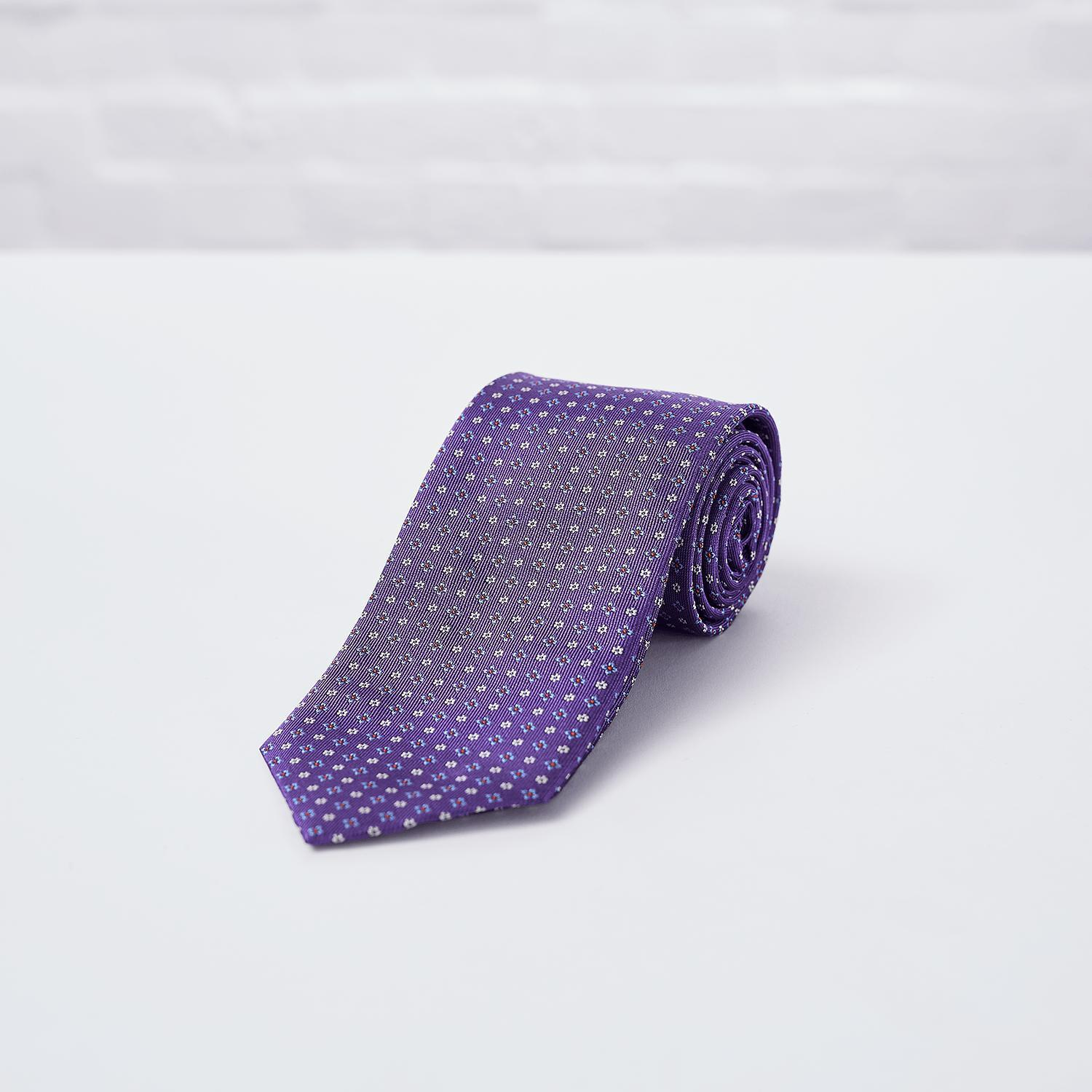 Purple Floral Woven Silk Tie - British Made