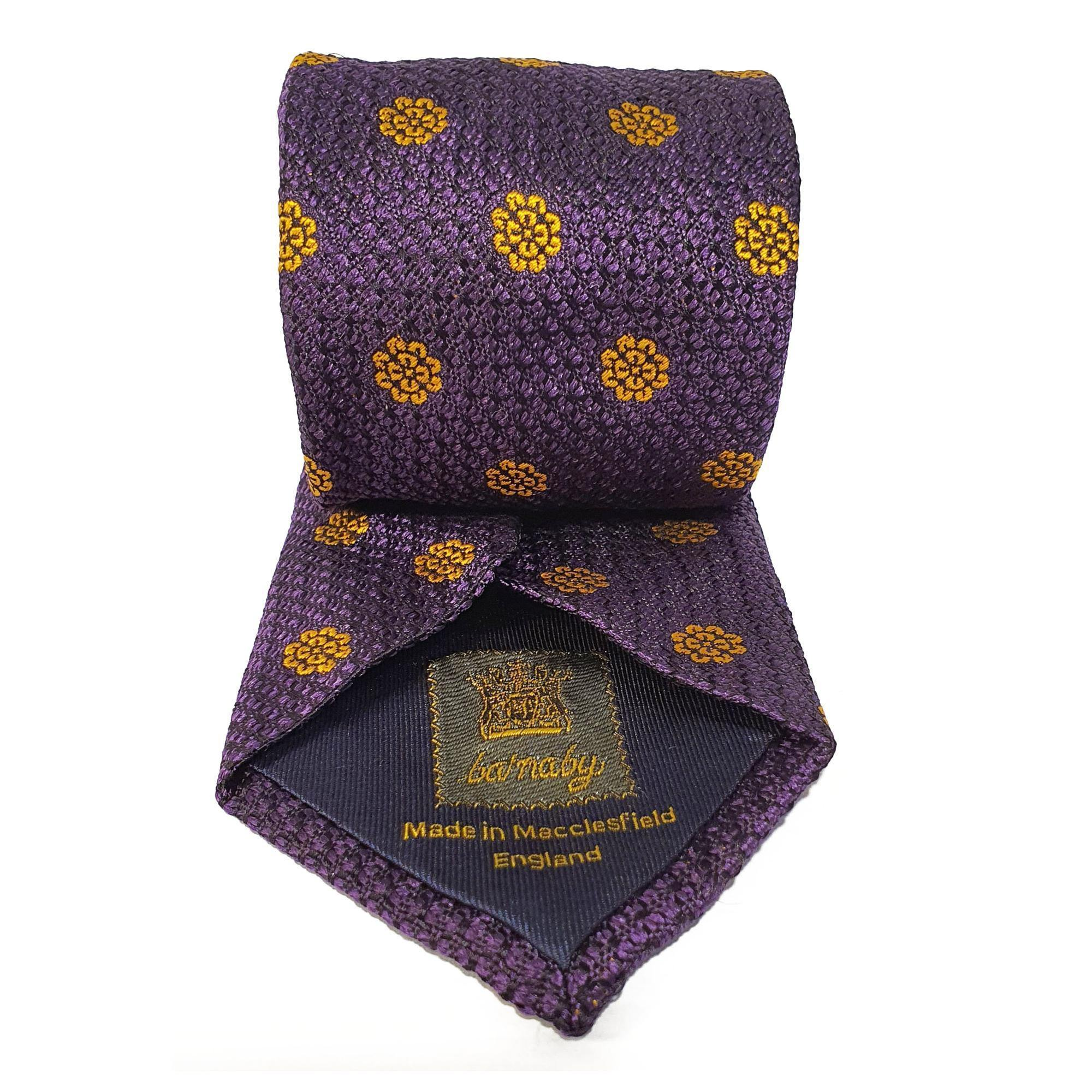 Purple Flower Woven Silk Tie Hand Finished - British Made