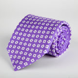 Purple Geometric Tumbling Blocks Printed Silk Tie - British Made