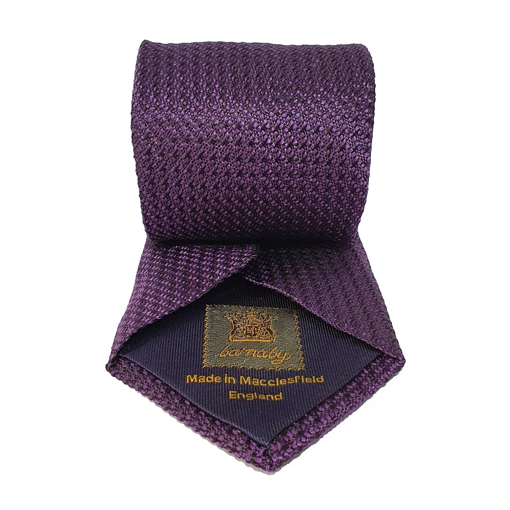 Purple Plain Weave Formal Silk Tie Hand Finished - British Made