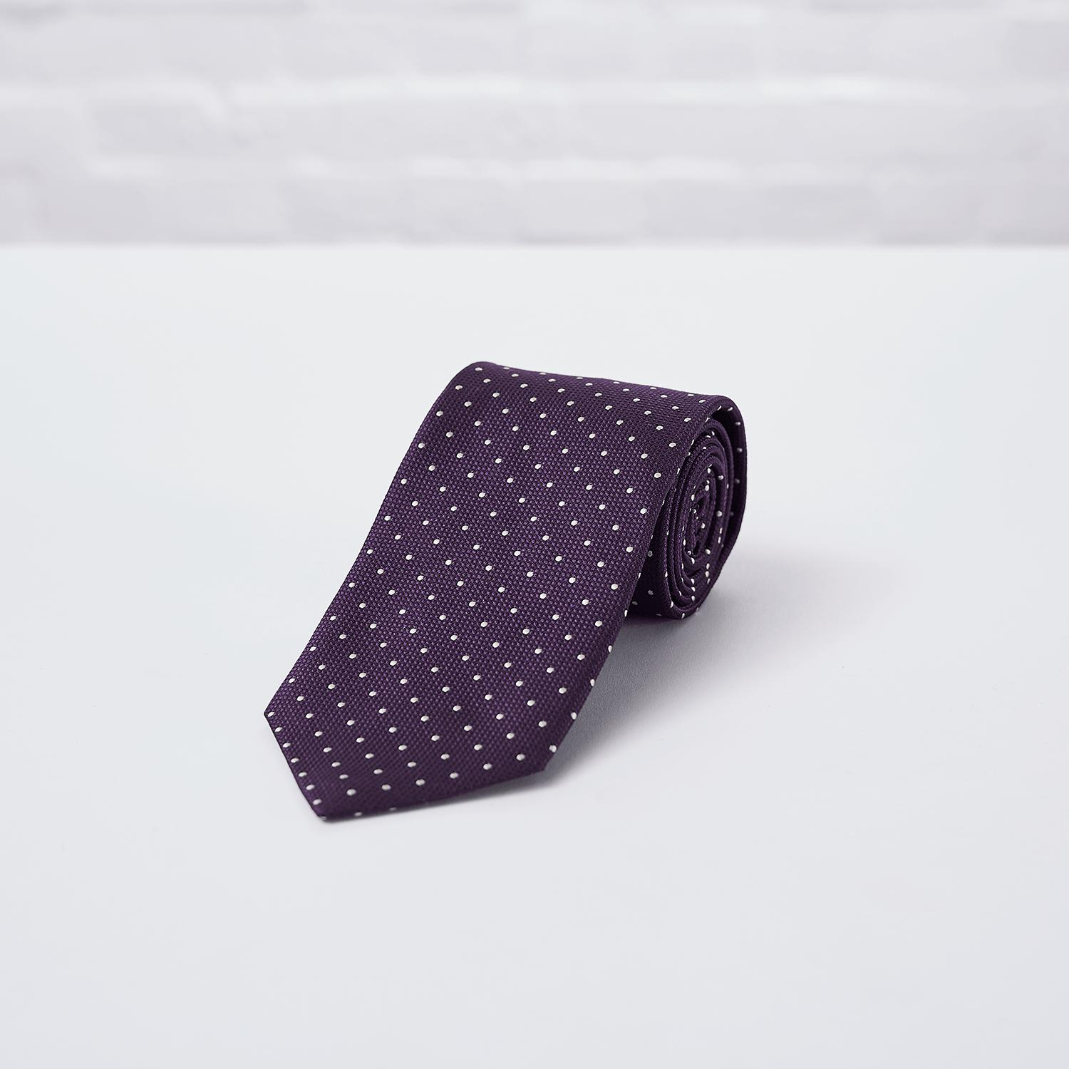Purple Spot Woven Silk Tie - British Made