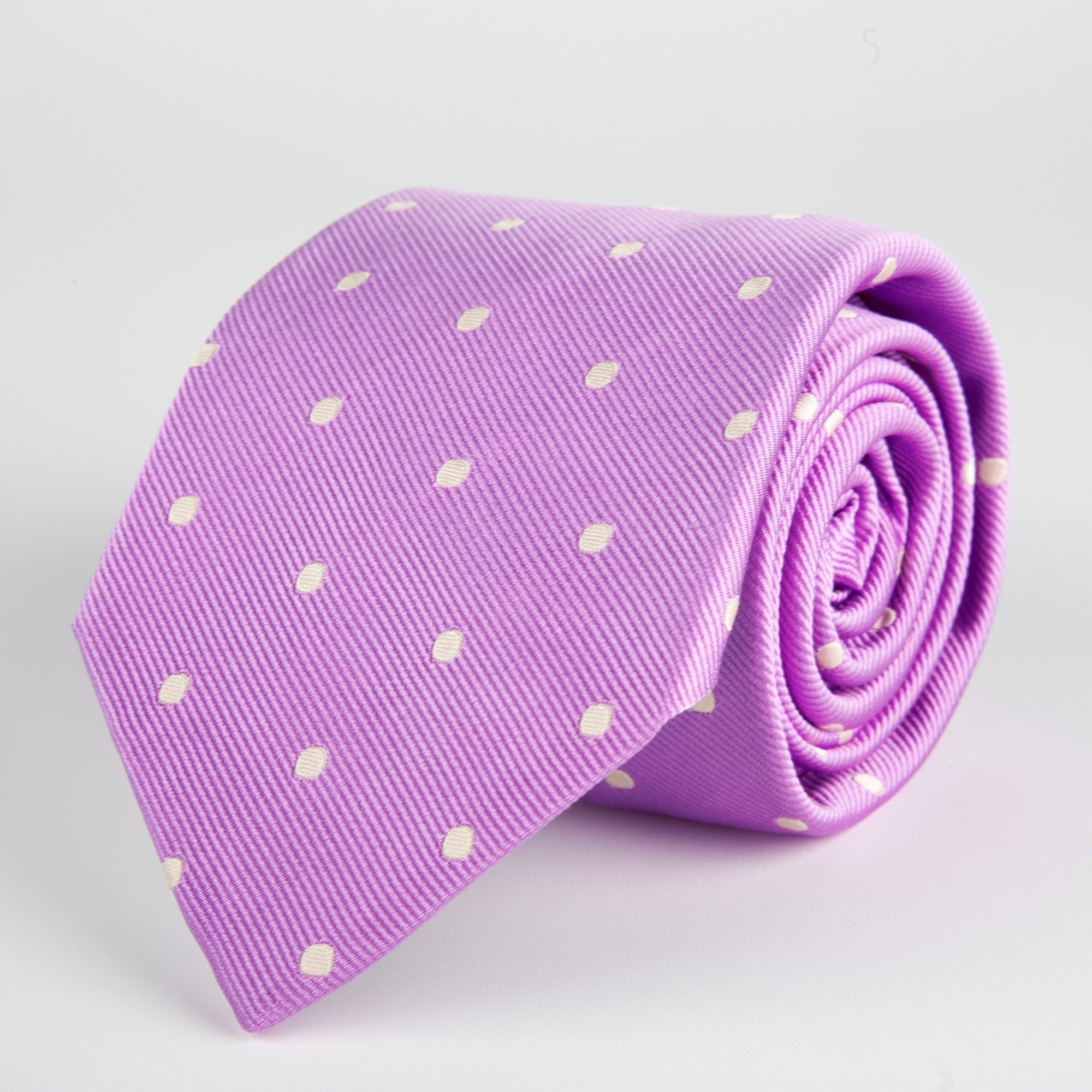 Purple Spotted Woven Silk Tie - British Made