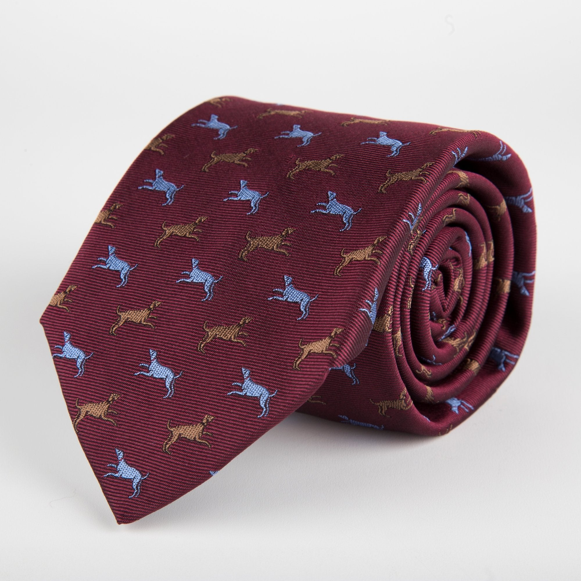 Red Dog Motif Woven Silk Tie - British Made