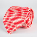 Red Geometric Diamond Woven Silk Tie - British Made