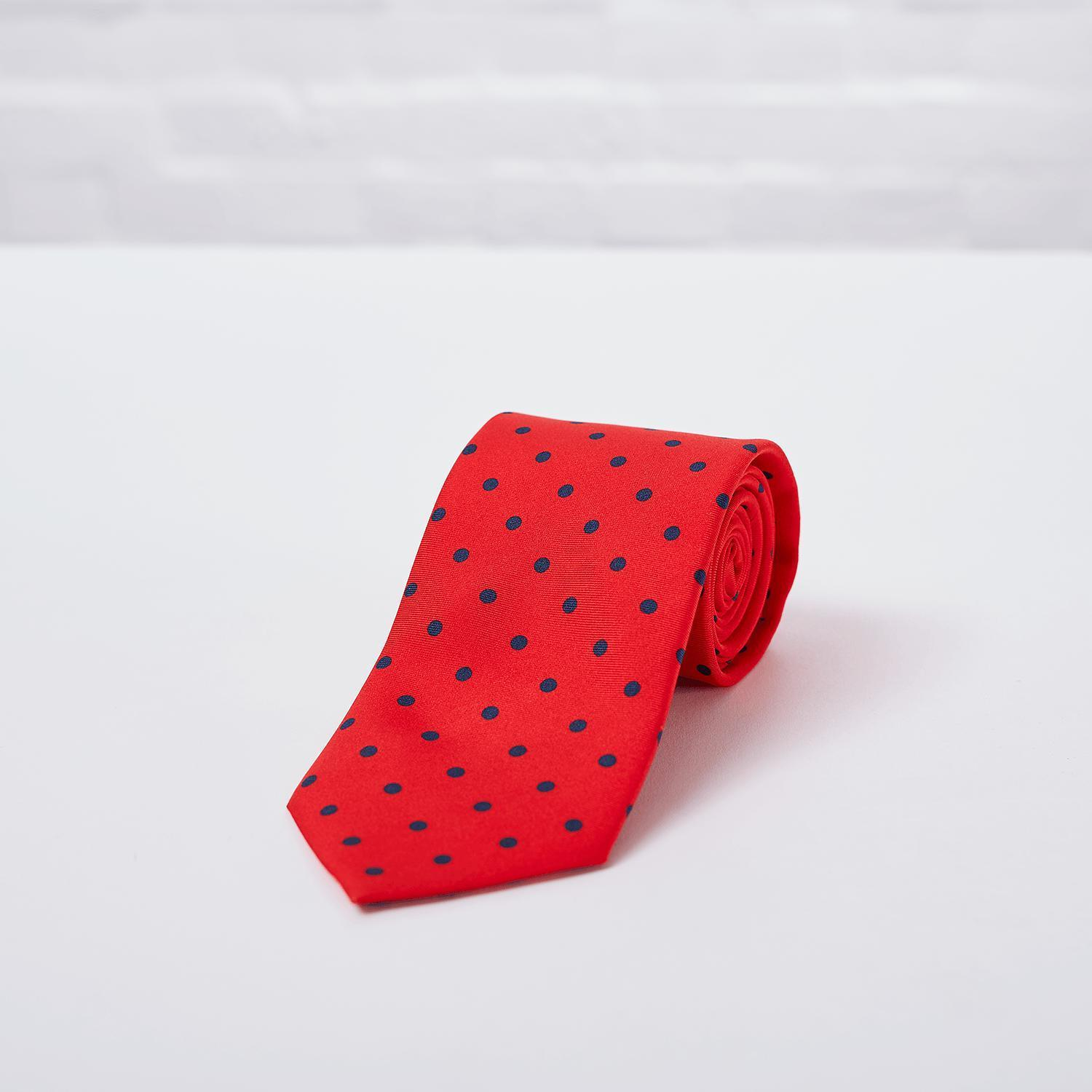 Red Large Spot Printed Silk Tie - British Made