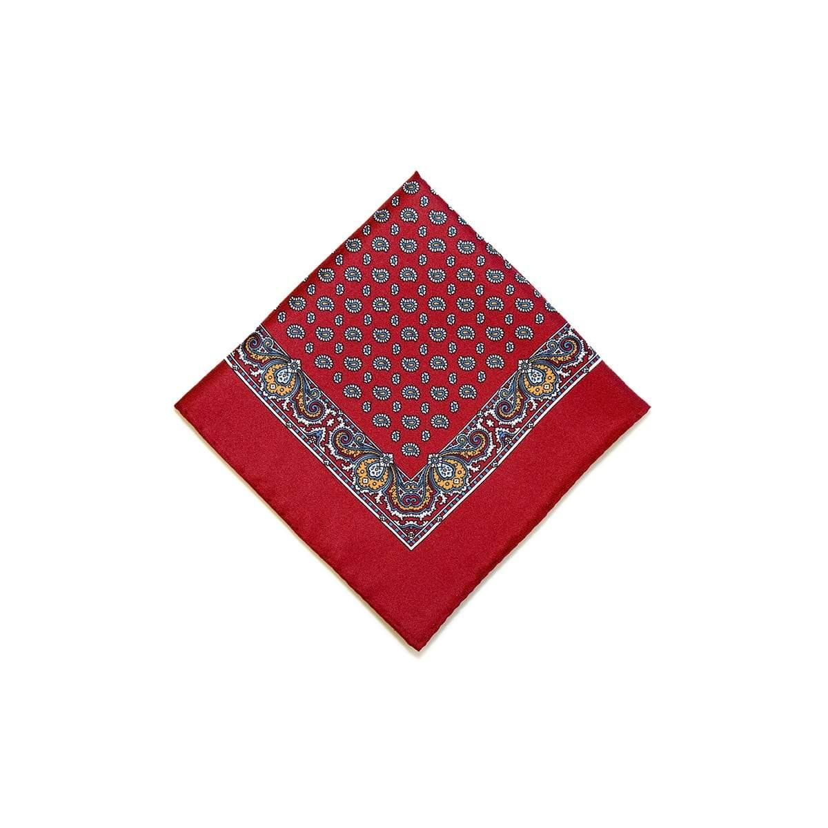 Red Orange Tear Drop Silk Pocket Square With A Paisley Border - British Made