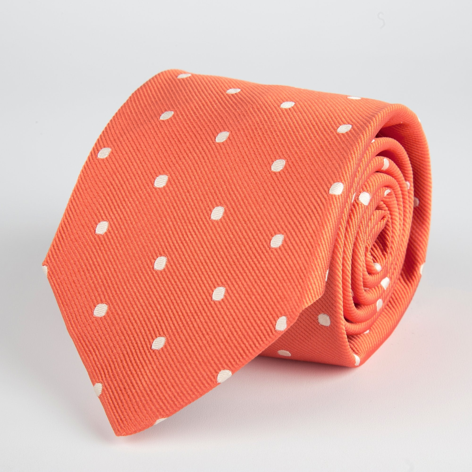 Red Spotted Woven Silk Tie - British Made