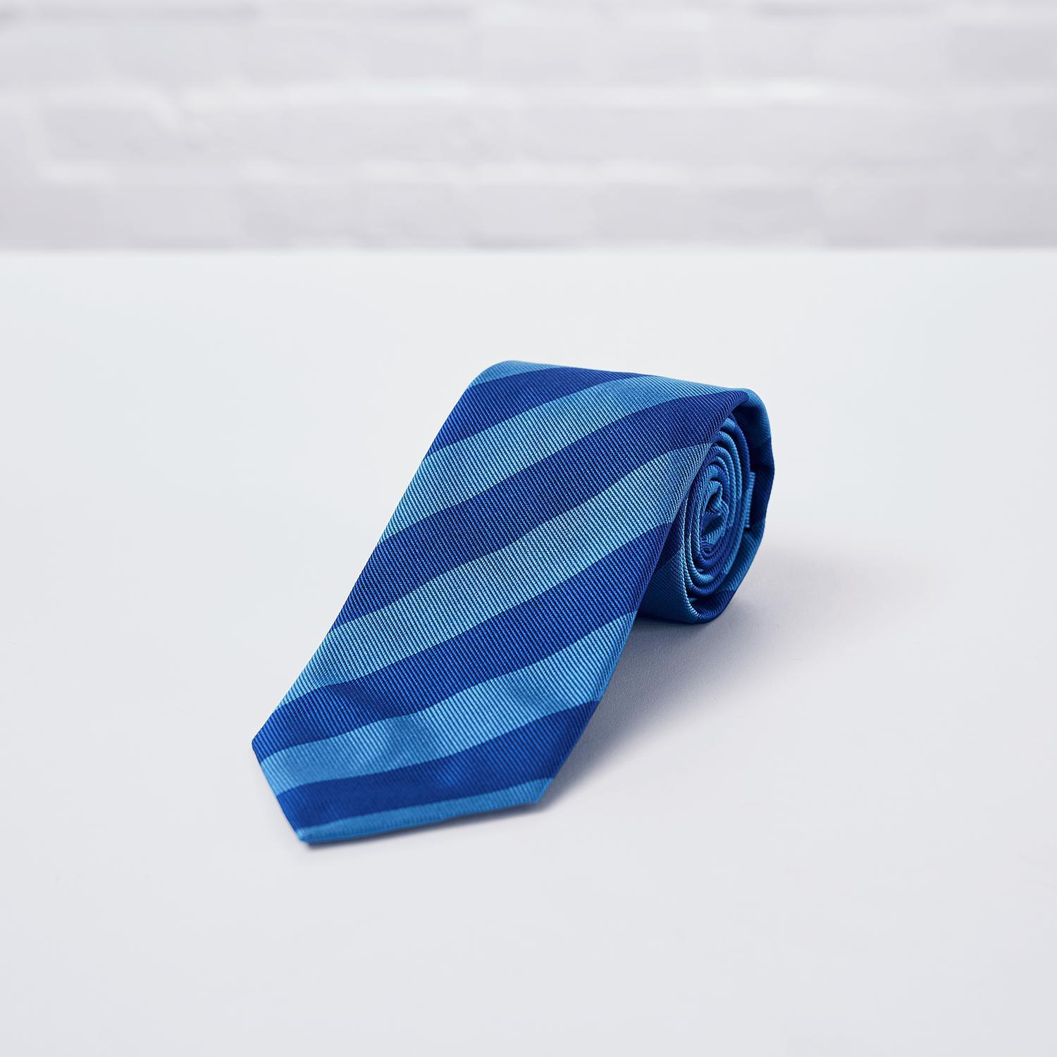 Royal Blue Striped Woven Silk Tie - British Made
