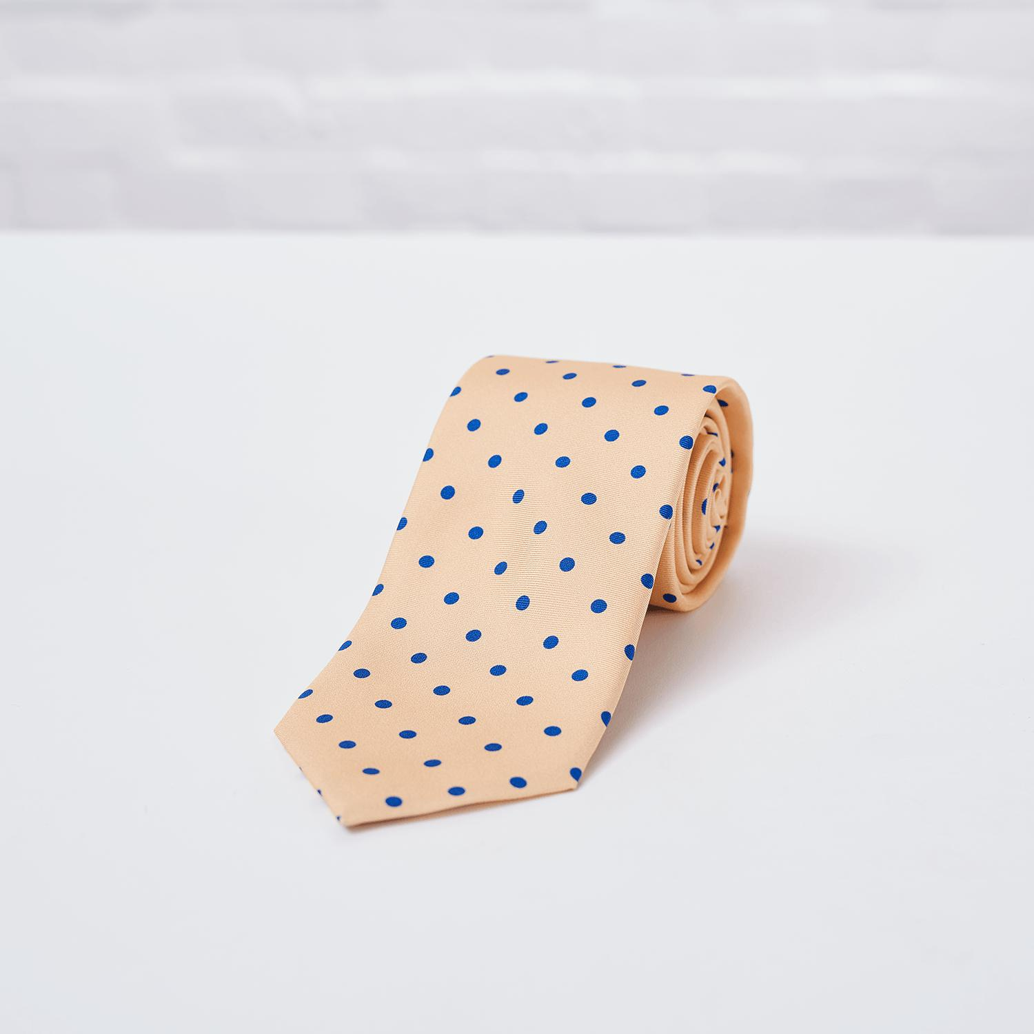 Yellow Large Spot Printed Silk Tie - British Made