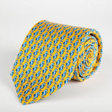 Yellow Seahorse Printed Silk Tie Hand Finished - British Made