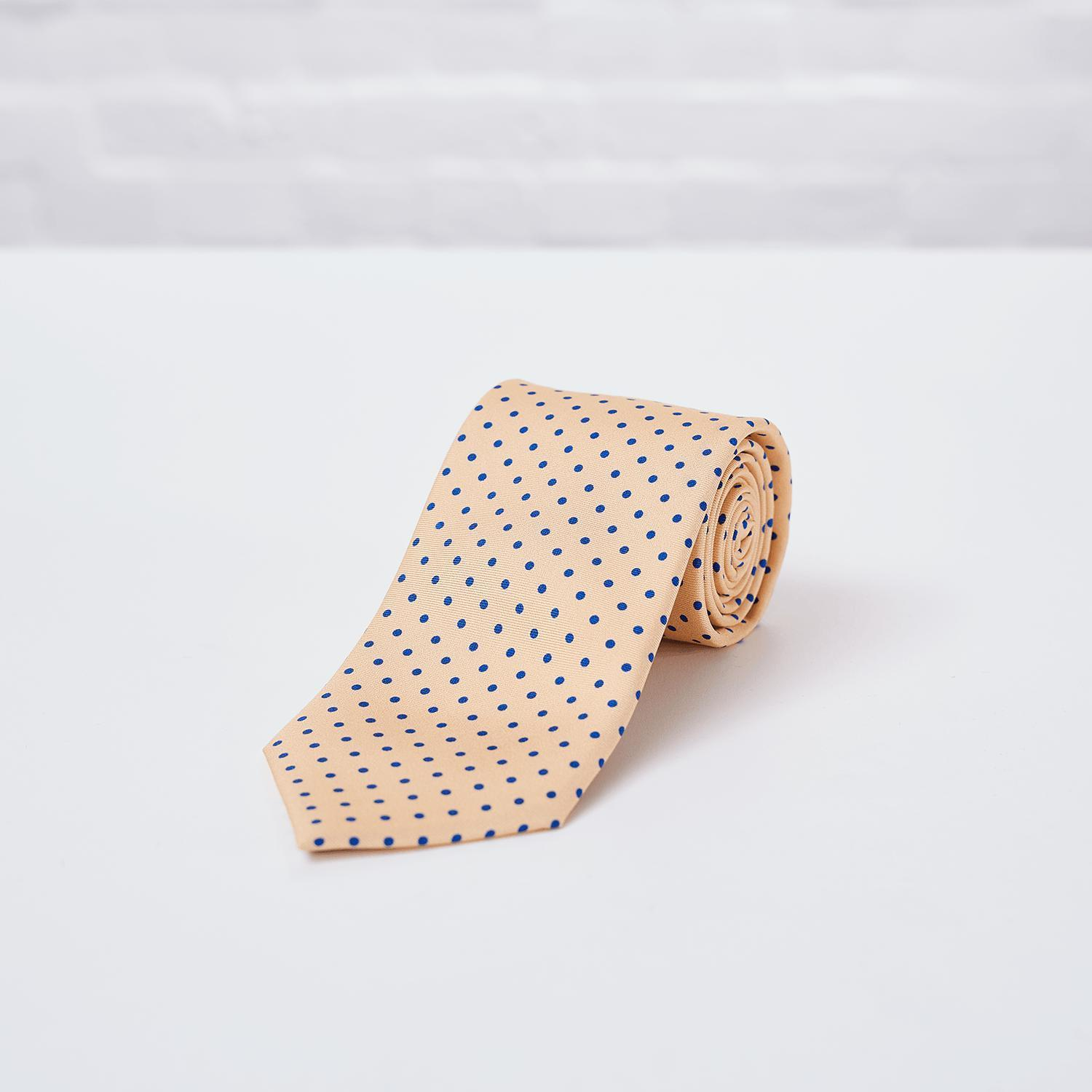 Yellow Small Spot Printed Silk Tie - British Made