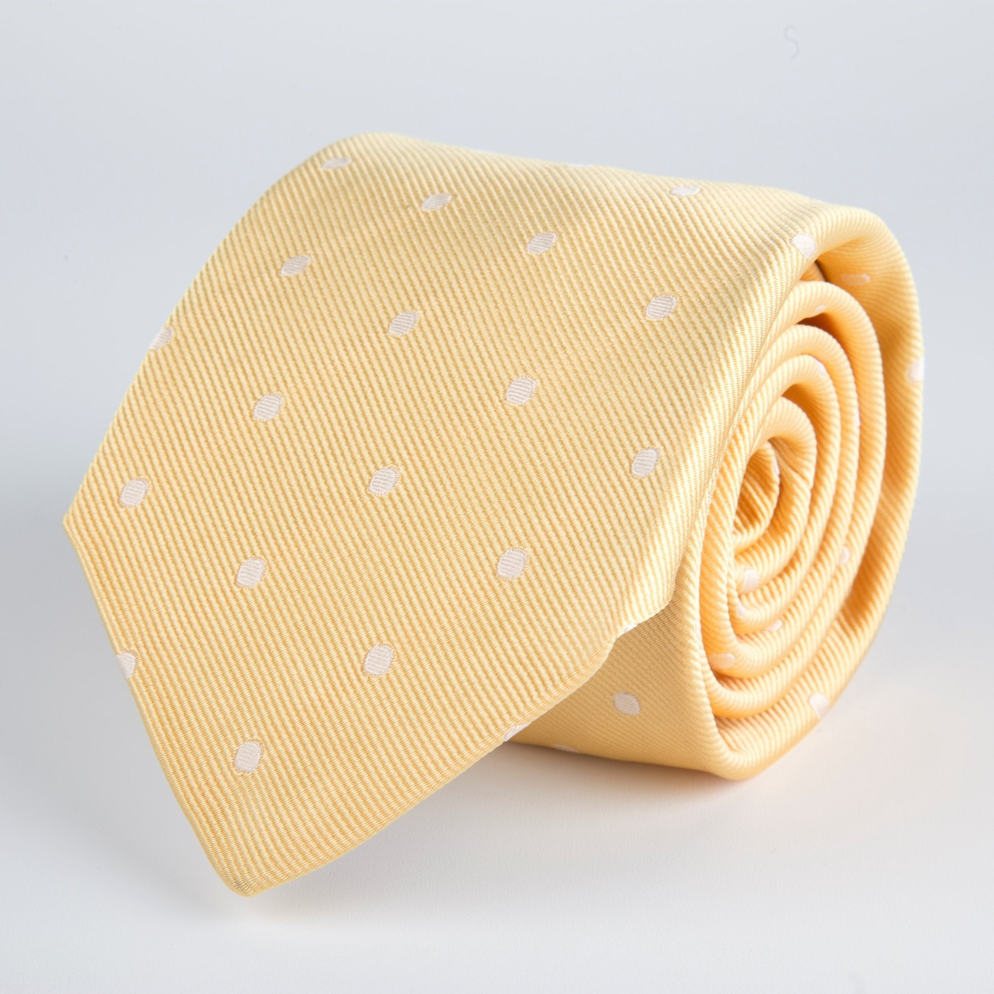 Yellow Spotted Woven Silk Tie - British Made