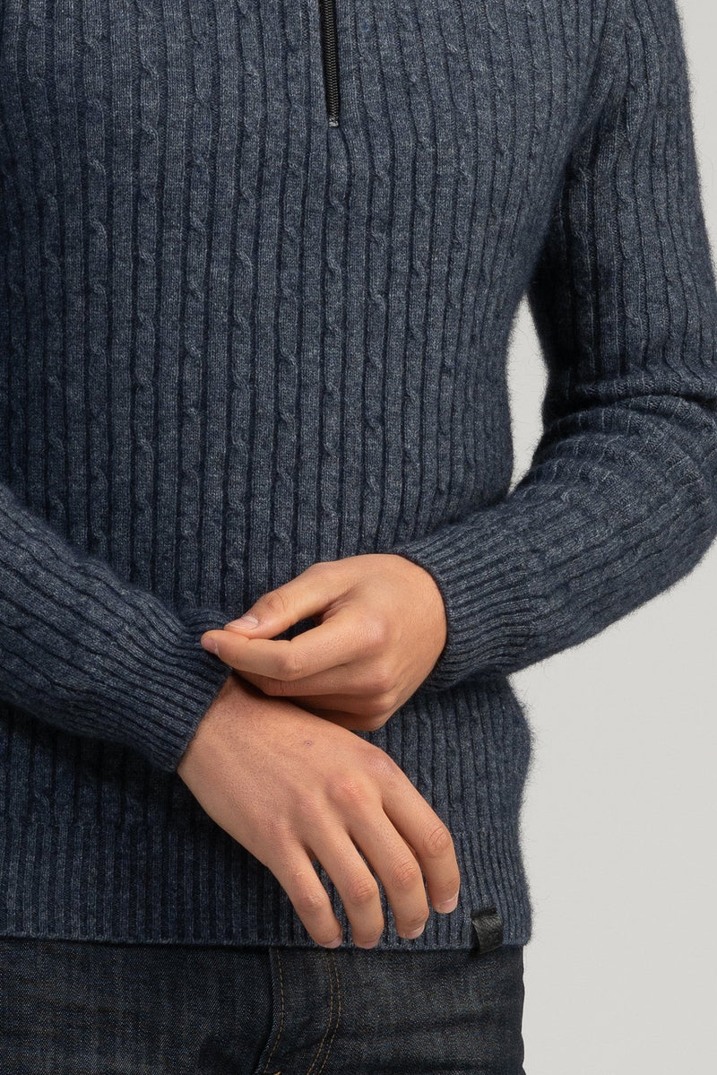 Mens Cable half Zip Mens Sweater Merinomink