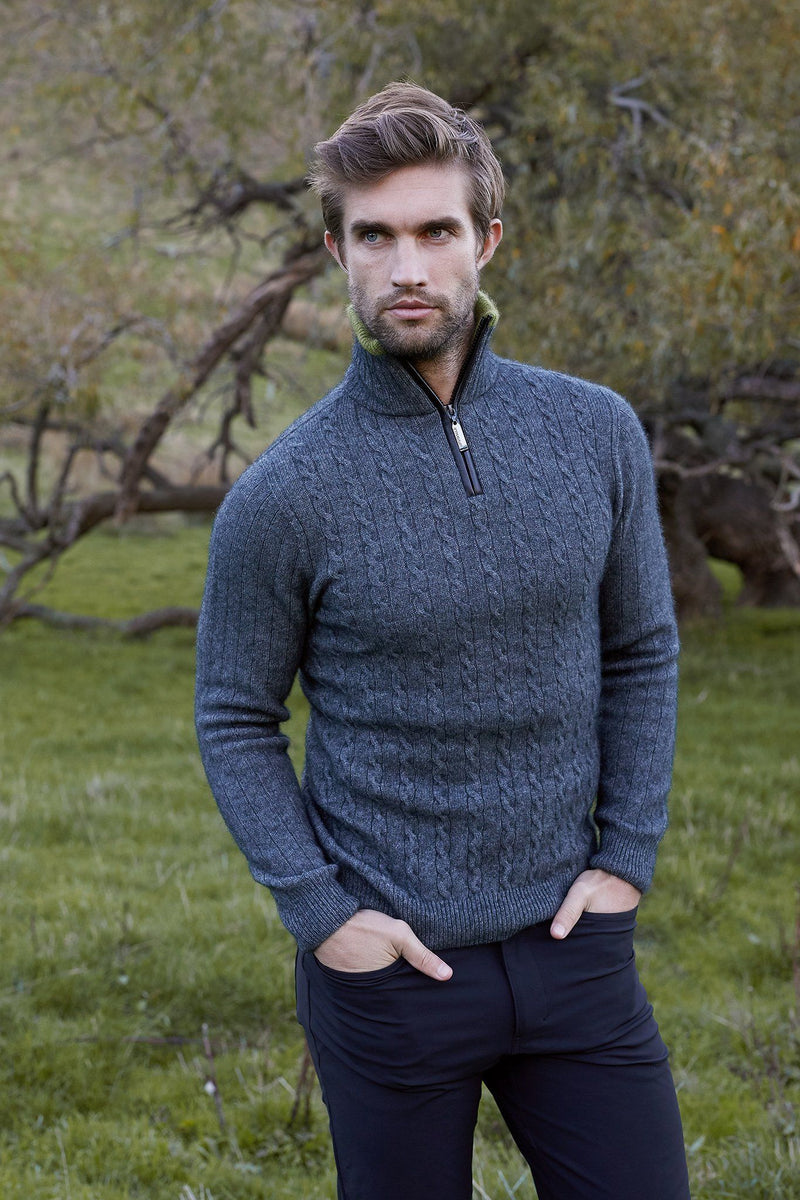 Cable Jersey With Contrast Mens Sweater McDonald