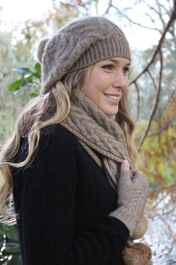 Cable Scarf with Rabbit Fur Pompoms Scarf Lothlorian