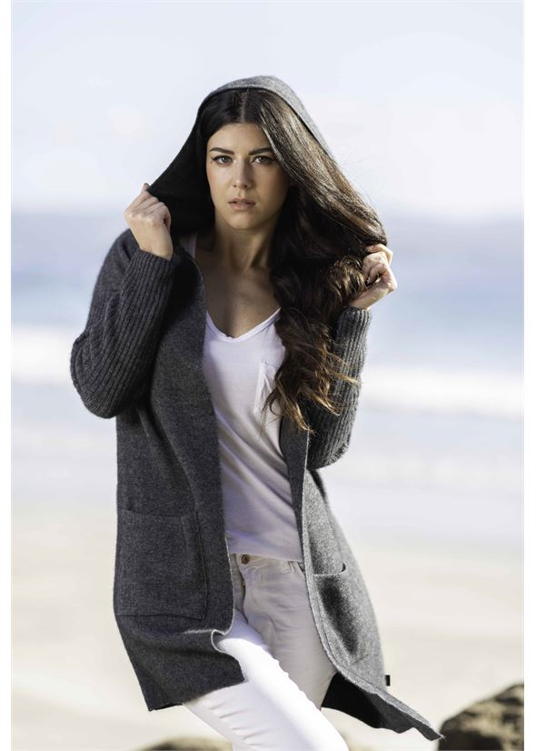 Hooded long Line Cardigan Women Cardigan Koru