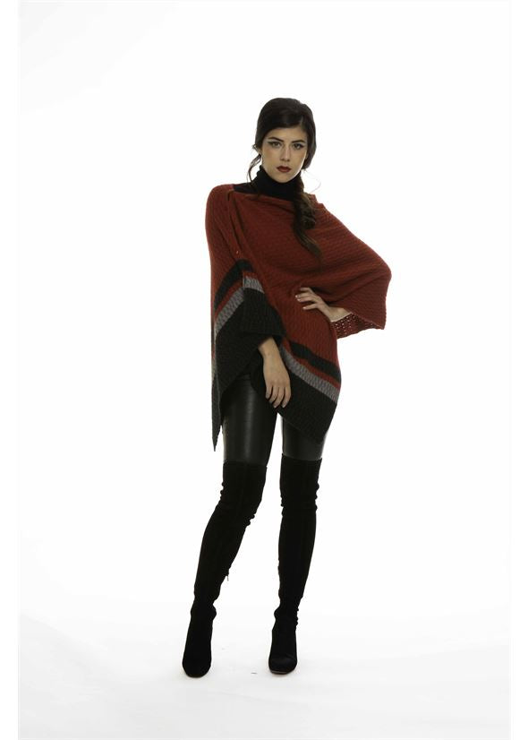 Colour Block Poncho Women Poncho Koru