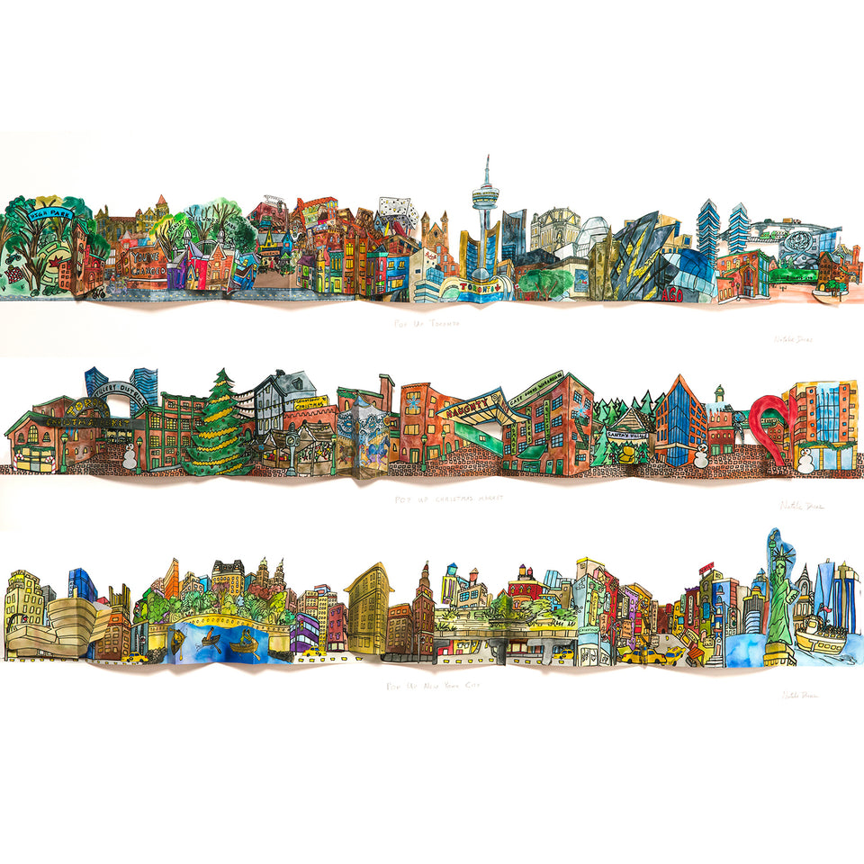Three paper pop up cities artwork