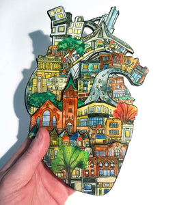 The Junction Heart: 6x9 Resin Papercut Artwork by Natalie Draz