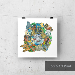 Toronto: Museums papercut art print hanging by bulldog clips