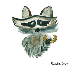 Raccoon with Snack - ART PRINT
