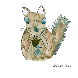 Brown Squirrel with Blue Eyes - ART PRINT