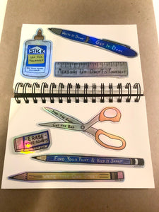 Pencils Holo Stickers: Anti-Stationary Supplies