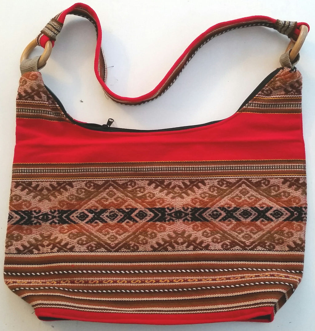 Ladies Shoulder Bag Made From Traditional Peruvian Cotton Fabric.