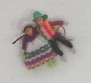 LIttle Peruvian Figures on a Pin Brooch, made by hand.