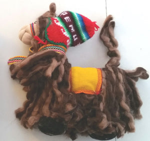 Shaggy Woollen Llama, hand made in Peru using llama wool.