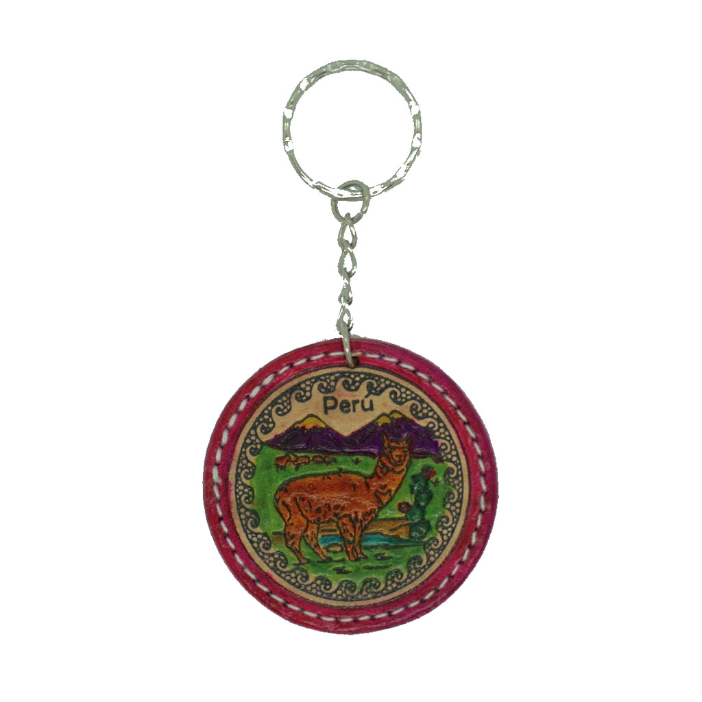 Leather Keyring with Llama