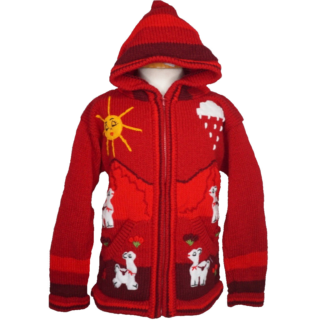 A Traditional Peruvian design - girl's country cardigan in red with animals on.