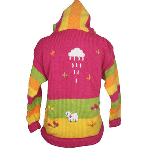 A Traditional Peruvian design - girl's country cardigan in pink with animals on.