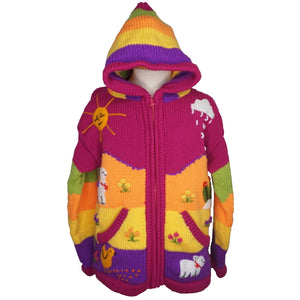 A Traditional Peruvian design - girl's country cardigan in fuchsia with animals on.