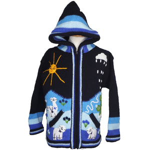 A Traditional Peruvian design - boy's country jumper in navy blue with animals on.