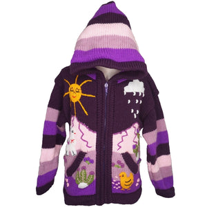 A Traditional Peruvian design - girl's country cardigan in purple with animals on.