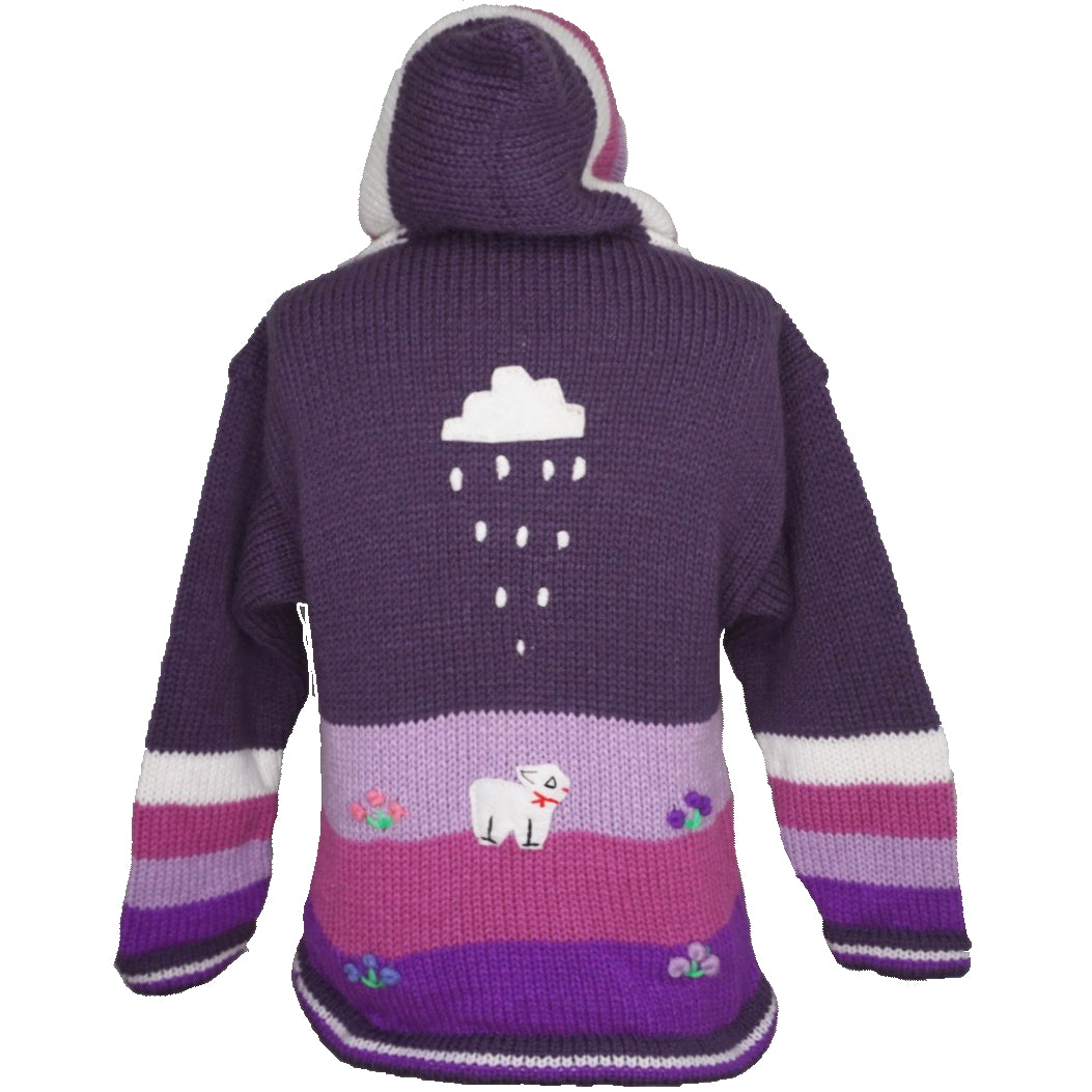 A Traditional Peruvian design - girl's country cardigan in mauve with animals on.