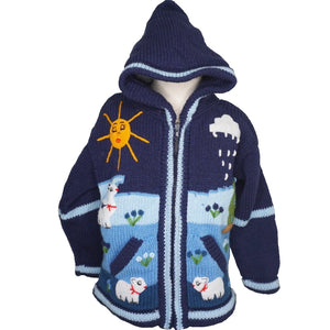 A Traditional Peruvian design - boy's country jumper in denim blue with animals on.