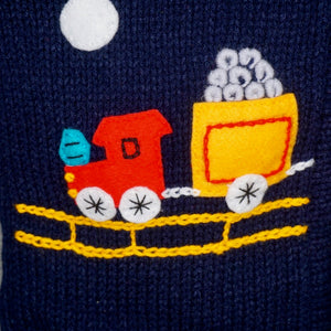 Navy Blue Boy's Jumper with a Train on front, and STOP sign on back, zip and hood.