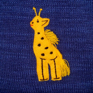 Jungle animals boy's jumper in denim blue with animals on back and front & hood.