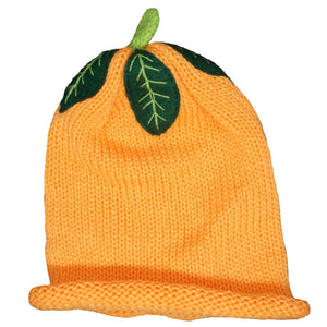 Orange child's woolly hat.