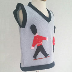 Boy's Soldier tank top in pale blue with marching guardsmen embroidered on by hand.