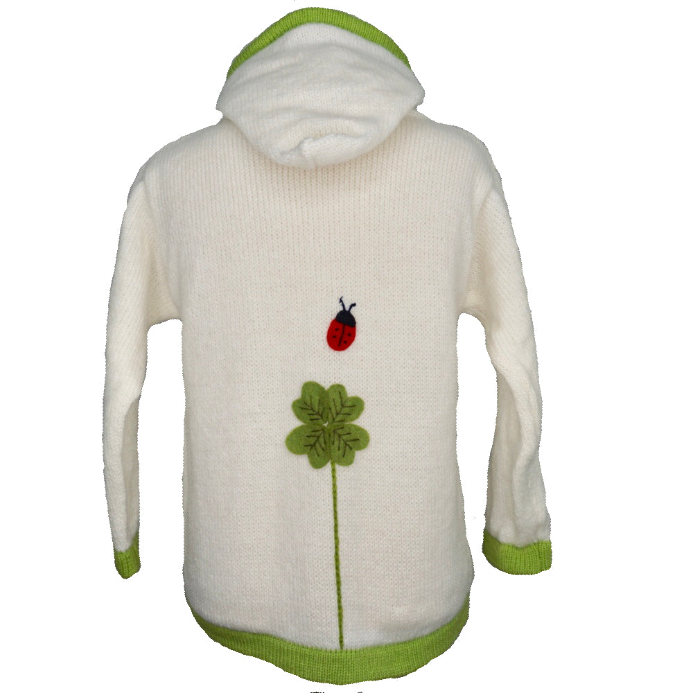 Girl's Cardigan off-white with clover and ladybirds embroidered all over.