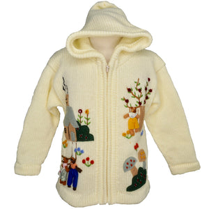 Girl's Goldilocks and the Three Bears Cardigan in cream with a zip front and hood.
