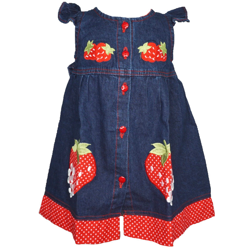 Denim Dress with strawberry design.