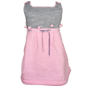 Pink and Grey Knitted Dress with flowers and a waist ribbon.
