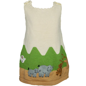 Jungle animal dress, in cream with animals embroidered along the bottom.