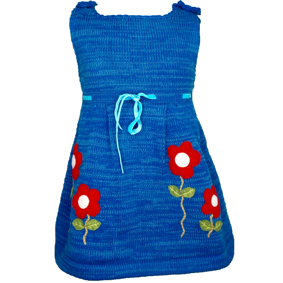 Blue Knitted Dress with flowers and a waist ribbon.