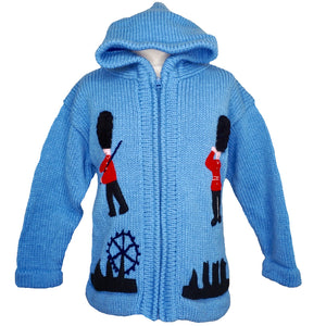 Boy's London jumper with a zip and hood, guardsman and phone box on.