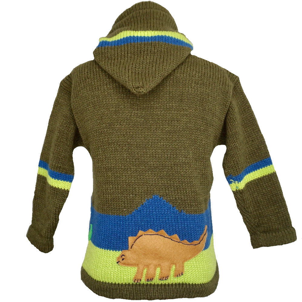 Boy's Dinosaur Jumper in green with a hood and zip front.